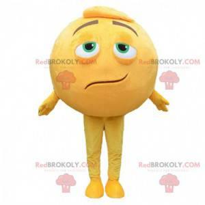 Reusachtige gele smiley mascotte, ronde man kostuum -