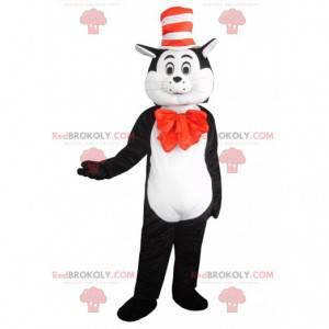 Mascote gato preto e branco com chapéu, fantasia de gato -
