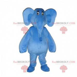 Blauwe olifant mascotte met grote oren, blauw dier -