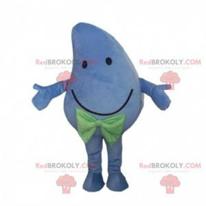 Mascote gigante e sorridente de manga azul, fantasia azul -