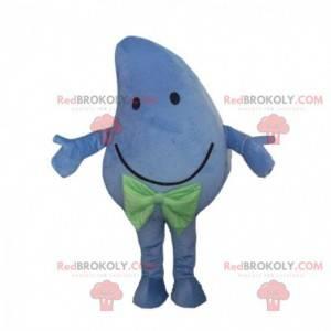 Mascotte reusachtige en lachende blauwe mango, blauw kostuum -