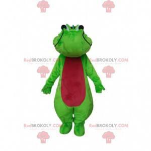 Mascote crocodilo verde e vermelho, fantasia de crocodilo -