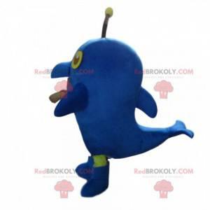 Mascote golfinho gigante azul, fantasia de mar - Redbrokoly.com