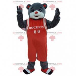 Gray bear mascot in basketball outfit, sport bear -