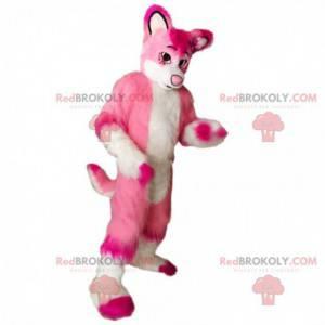 Weißes und rosa Hundemaskottchen, weibliches Hundekostüm -
