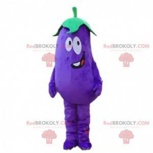 Mascot gigantische aubergine, paars plantaardig kostuum -