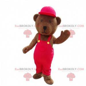 Mascota de peluche marrón vestida de rojo, osito de peluche -