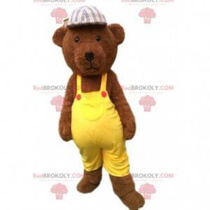Mascote urso de pelúcia marrom vestido de amarelo, urso de