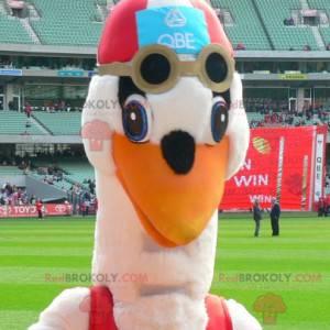 Mascote da cegonha em traje de banho - Redbrokoly.com