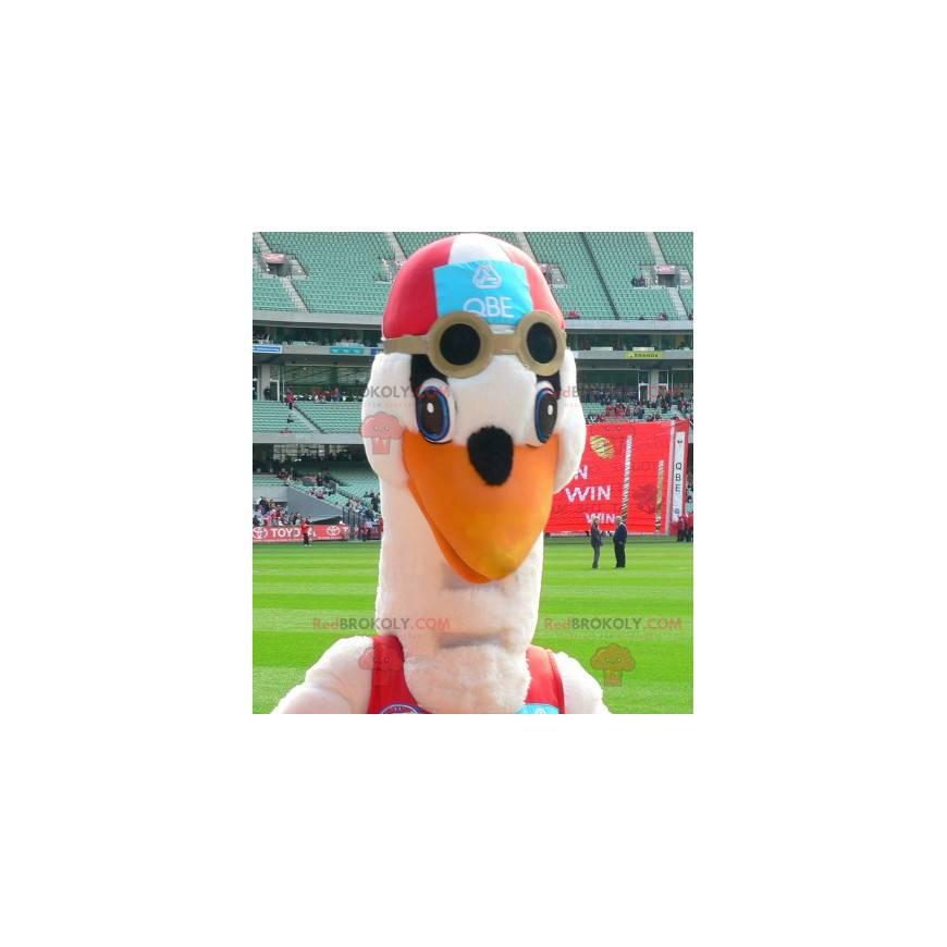 Maskot čáp v plavkách - Redbrokoly.com