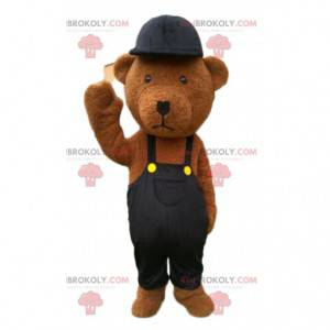 Mascota de peluche marrón vestida de negro, oso de peluche -