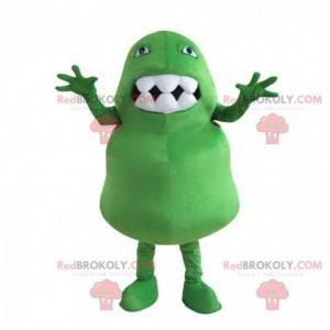 Mascote monstro verde com uma boca grande cheia de dentes -