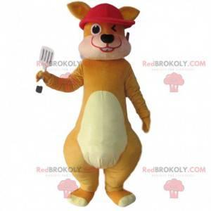 Mascotte canguro marrone e con un berretto rosso -