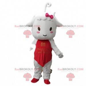 Mascota del cordero, pequeña oveja blanca con un traje rojo -
