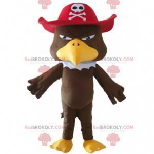 Mascote águia com chapéu de pirata e fantasia de pássaro -
