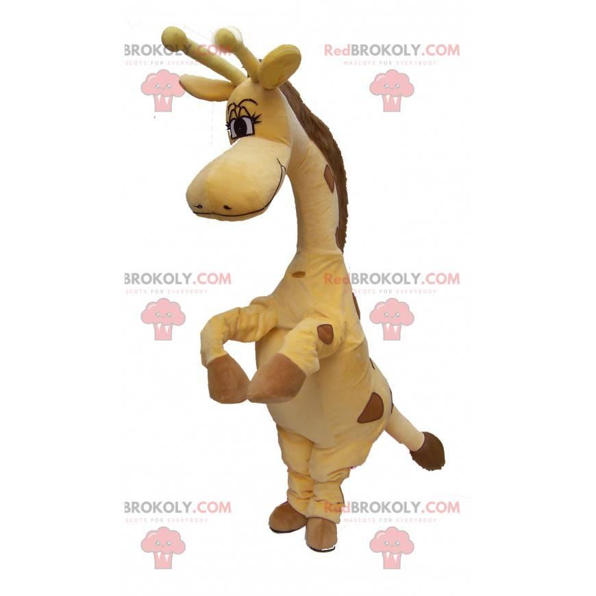 Gelbes und braunes Giraffenmaskottchen - Redbrokoly.com