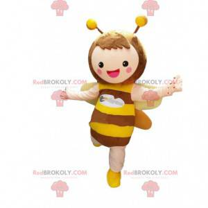 Mascote de abelha muito sorridente, fantasia de abelha gigante