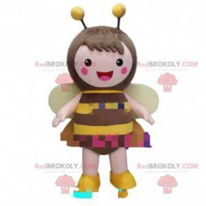 Vrouwelijke bijen mascotte, vliegend insect kostuum -