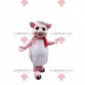 Pink gris maskot klædt i et forklæde med en kokkehue -