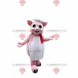 Pink pig mascot dressed in an apron with a chef's hat -