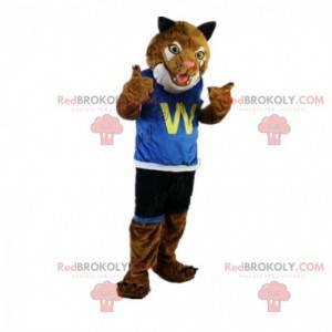 Tiger maskot klædt i sportsbeklædning, felint kostume -