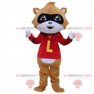 Mascota de mapache marrón y blanco con un traje rojo -