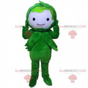 Mascote vegetal verde, traje de personagem verde -