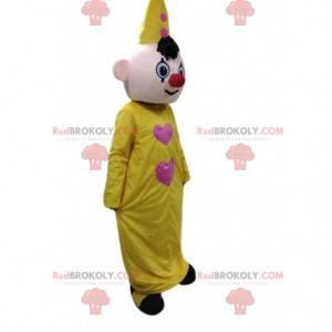 Mascote palhaço amarelo, fantasia de circo, fantoche -