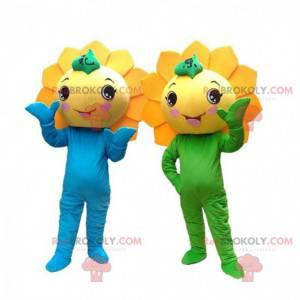 2 mascotes de flores amarelas, fantasias de girassóis gigantes