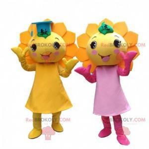 2 mascotas de flores amarillas, disfraces de girasoles gigantes