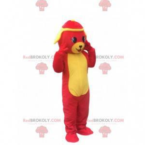 Rotes und gelbes Hundemaskottchen, buntes Hundekostüm -