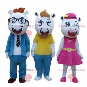 3 mascotes vacas muito elegantes, 3 fantasias de animais -