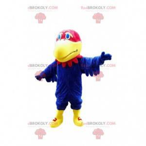 Mascote papagaio azul e vermelho, fantasia de abutre -