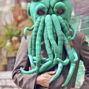 Very realistic green octopus head mascot - Redbrokoly.com
