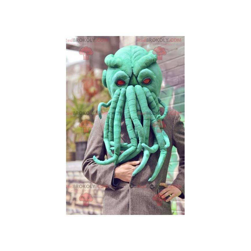 Velmi realistický zelený maskot hlavy chobotnice -