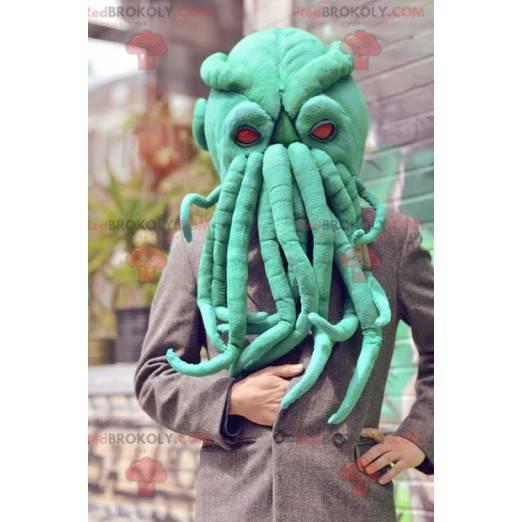 Sehr realistisches grünes Oktopuskopfmaskottchen -