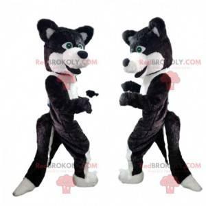 Mascote de cachorro preto e branco, fantasia de cachorro lobo -