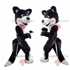 Svart og hvit hundemaskot, ulvehunddrakt - Redbrokoly.com