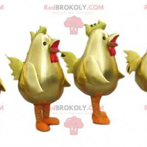 4 mascotes de galos dourados, fantasias de grandes galinhas