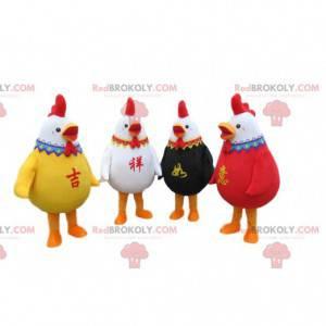 4 kleurrijke hanenmascottes, 4 kleurrijke kippenkostuums -