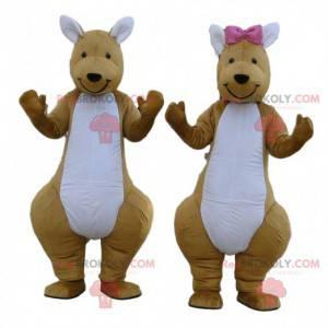 2 mascottes van bruine en witte kangoeroes, paar kangoeroes -