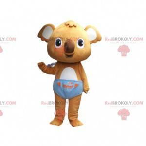 Mascote coala marrom com cueca azul, fantasia de coala bebê -