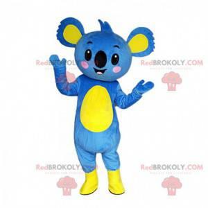 Mascote de coala azul e amarelo, fantasia de coala gigante -