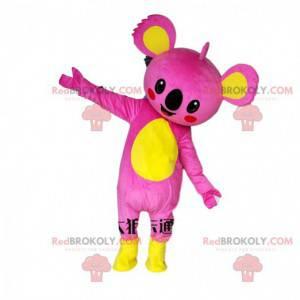 Mascota koala rosa y amarillo, colorido disfraz de koala -