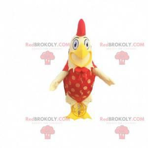 Mascote gigante de galo amarelo e vermelho com um largo sorriso