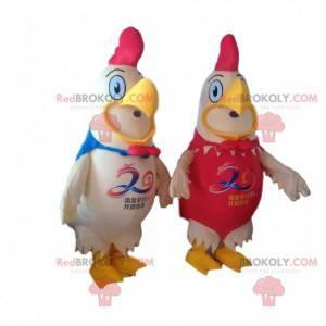 2 mascotte di galli giganti, costumi da fattoria -