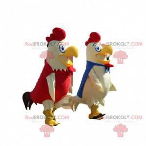 2 maskotter af hvide, blå og røde hane, gårddragter -