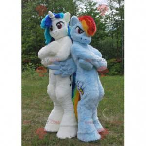 2 mascotes pôneis unicórnios coloridos - Redbrokoly.com