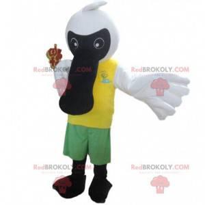 Mascote ave marinha preta e branca, fantasia de pássaro grande