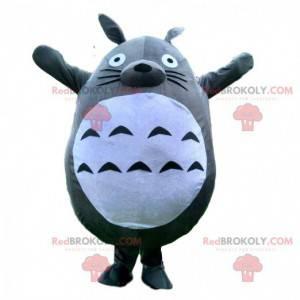 Mascote Totoro, coelho cinza e branco, fantasia de desenho